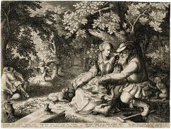 Death and Cupid with Each Other's Arrows / Boetius Adamsz. Bolswert after David Vinckboons