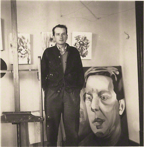 Wolfgang Paalen with his portrait of Andre Breton