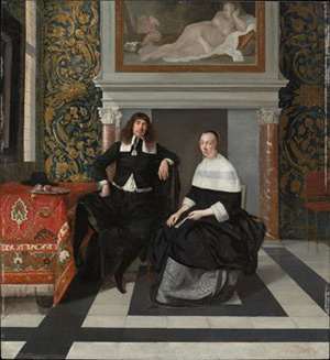 Portrait of a Man and Woman in an Interior / Eglon van der Neer