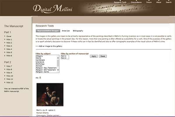 Screen capture of image gallery in Digital Mellini