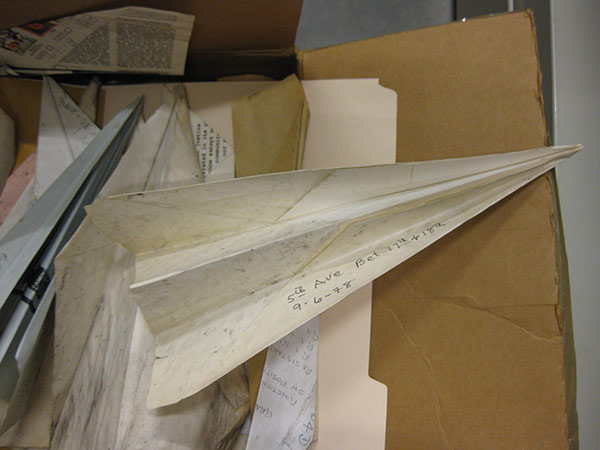 Paper airplanes, annotated with date and findspot, in Harry Smith's collections