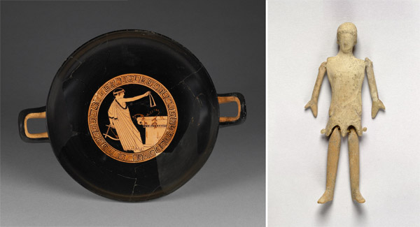 Wine Cup with Boy Dedicating the Mouth Strap of a Wind Instrument, Doll (Greek), Terracotta