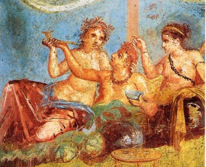 Roman fresco with banquet scene from the Casa dei Casti Amanti, Marisa Ranieri Panetta (ed.): Pompeji. Geschichte, Kunst und Leben in der versunkenen Stadt. Belser, Stuttgart 2005, author: Wolfgang Rieger