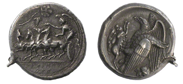 Coin with Nike Driving a Four-Horse Chariot (Obverse) and Eagles Devouring a Hare (Reverse)