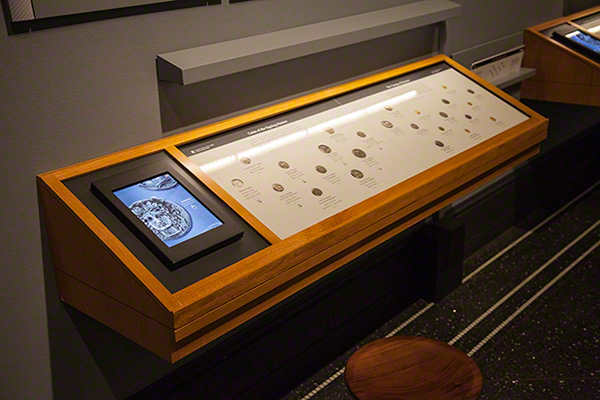 Case of coins in the Sicily exhibition at the Getty Villa