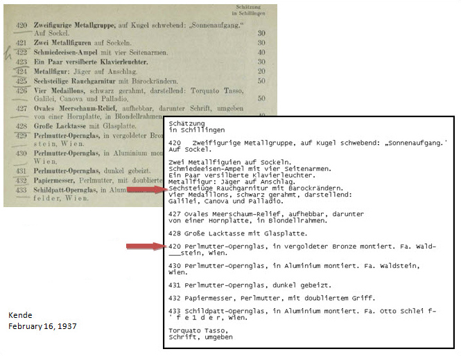A dirty scan: portion of a scanned PDF of a 1937 auction catalog with its OCR-generated text