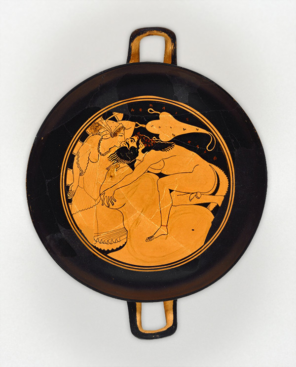 Wine Cup with a Satyr and a Nymph / attributed to Onesimos