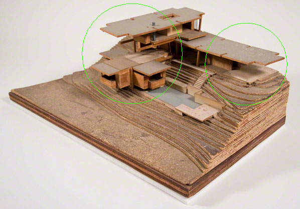 Gould/LaFetra House model with areas of damage