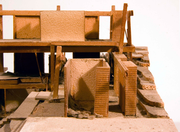 Gould/LaFetra House model with left side damage