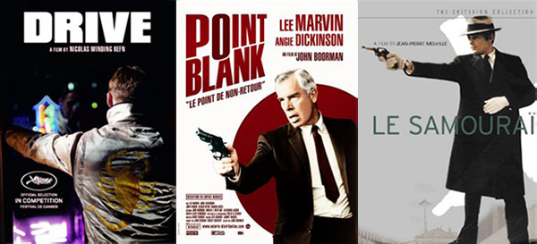 Posters from hitman movies Drive, Point Blank, and Le Samurai