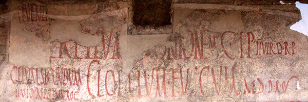 Writing on a wall of the thermopolium of Asellina, Pompeii