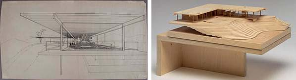 Drawing and model of Stahl Case Study House