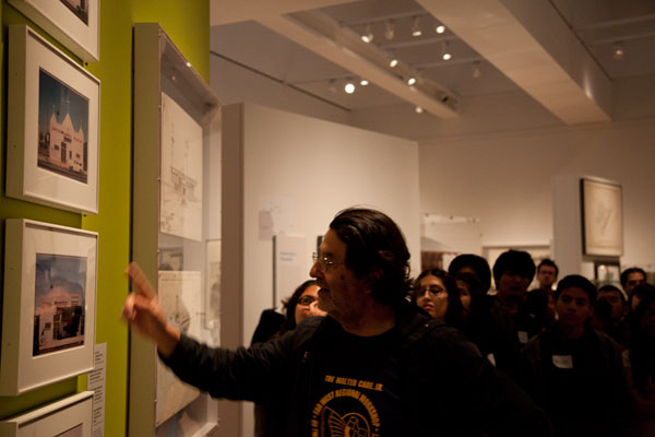 Students listen to Camilo Jose Vergara at Overdrive exhibition