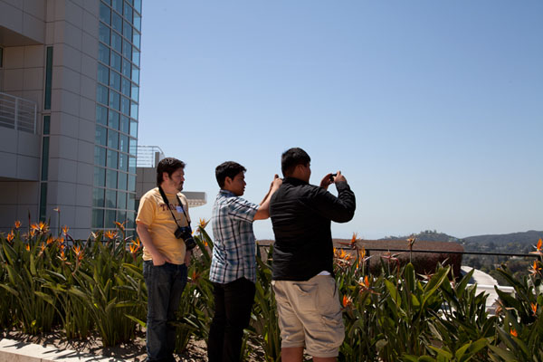 Students take photos at the Getty Center