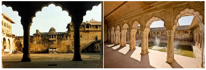 Nagaur Fort Interiors, before and after conservation. Left image, courtesy of the Ahhichatragarh-Nagaur Fort, Mehrangarh Museum Trust . Image on right, by Neil Greentree.