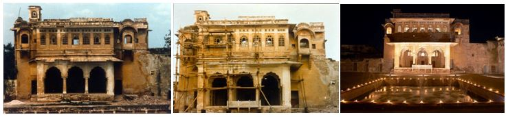 Nagaur Fort, exterior, before, during and after conservation work. Photos courtesy of the Ahhichatragarh-Nagaur Fort, Mehrangarh Museum Trust