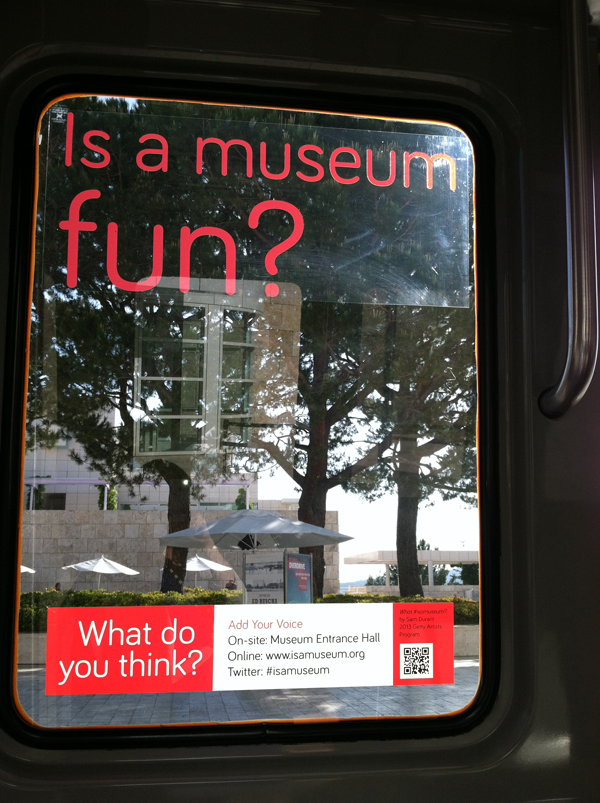 One of many questions asked on the Getty's tram