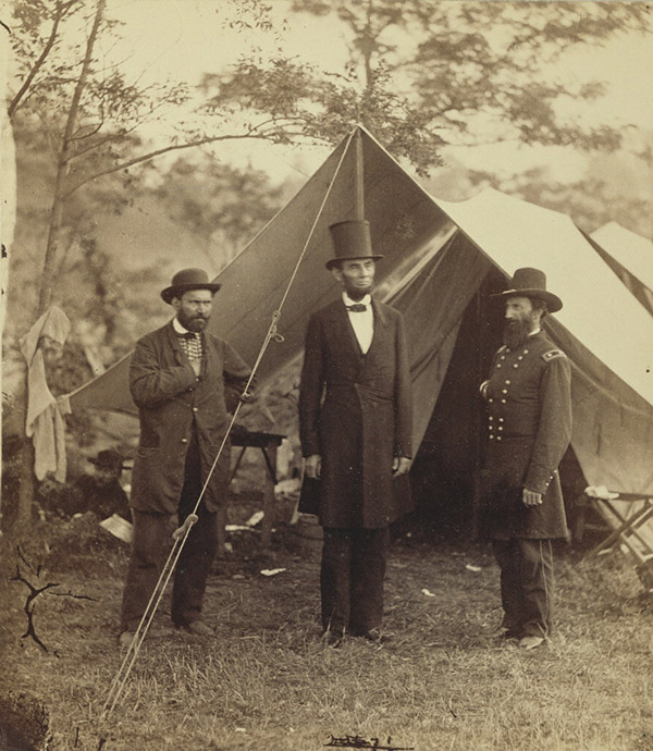 President Lincoln, Maj. Gen. McClernand, and E. J. Allen, Chief of S.S.U.S., Secret Service Department, at the Headquarters of the Army of the Potomac, near Antietam / Alexander Gardner