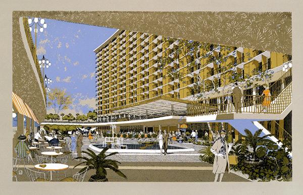 Century Plaza Hotel; perspective of exterior sunken plaza / Minoru Yamasaki and Carlos Diniz