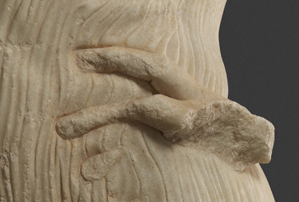 Hand and hip of the Statue of a Youth (the Mozia Charioteer) / Sicilian Greek