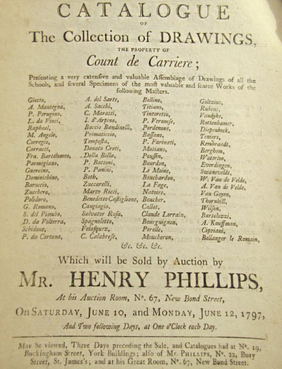 Title page of the 1797 auction of the drawings collection of the Count de Carriere