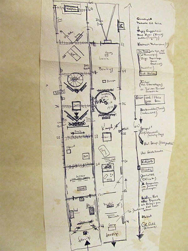 Sketch for The Bachelor Machines at the 1975 Venice Biennale / Harald Szeemann