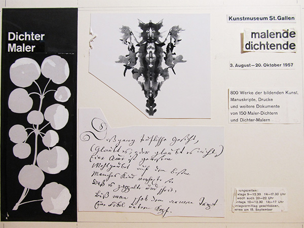 Harald Szeemann's collage for the brochure of his 1957 exhibition Painter-Poets - Poet-Painters