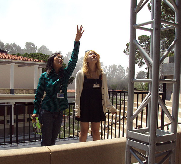 Anna Woo and Valerie Tu in the Outdoor Classical Theater at the Getty Villa