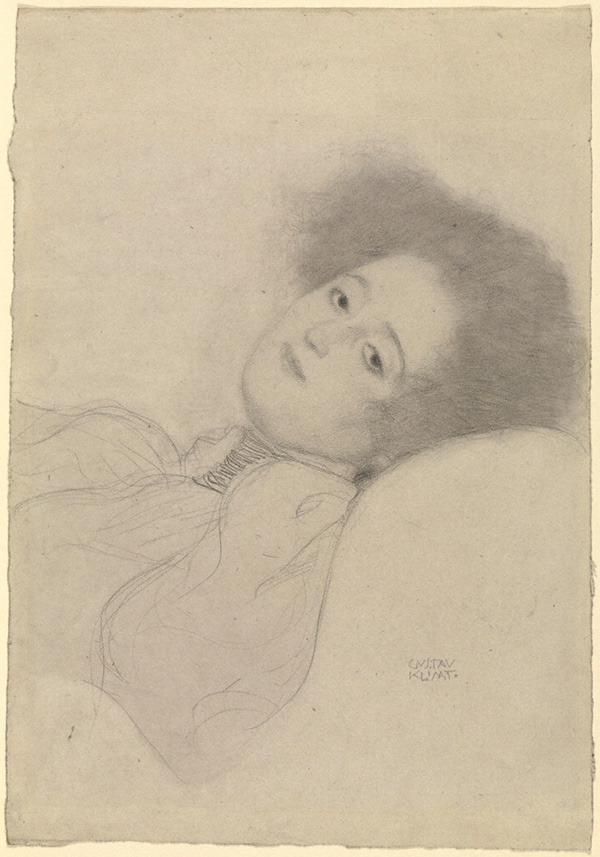 Portrait of a Young Woman Reclining / Gustav Klimt