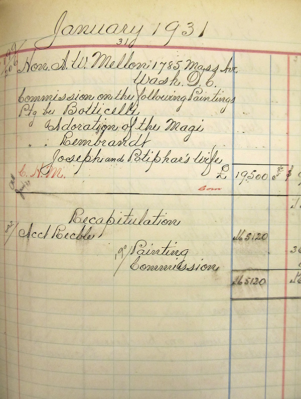 Page from a Knoedler sales book indicating the sale of Botticelli and Rembrandt paintings to Andrew Mellon