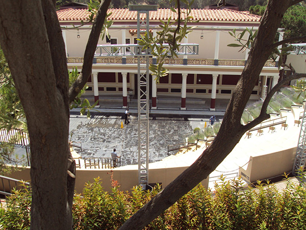 Power washing of the Outdoor Classical Theater at the Getty Villa, seen from above