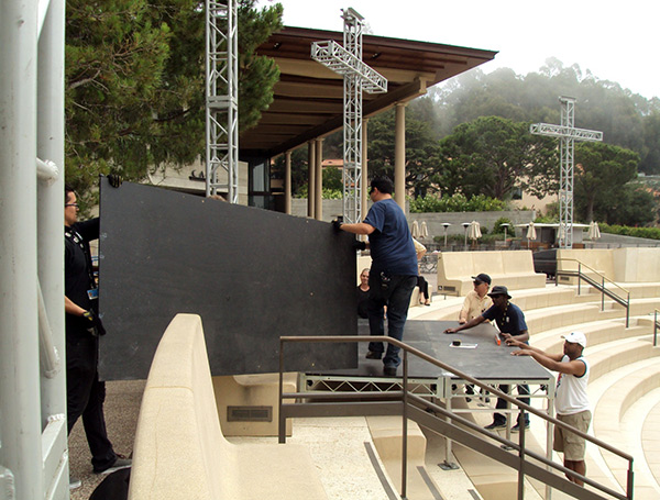 AV staff setting up the tech booth in the Getty Villa's Outdoor Classical Theater, July 2, 2013.