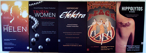 Posters from Outdoor Classical Theater performances at the Getty Villa, 2006-2012