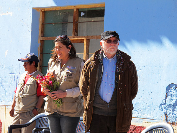 Claudia Cancino and Dr. Luis Peirano, former minister of culture for Peru, in Kuno Tambo