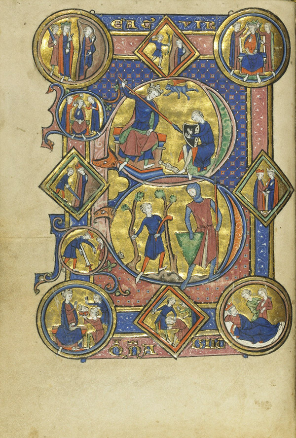 David Playing the Harp, David and Goliath in the Wenceslaus Psalter / French