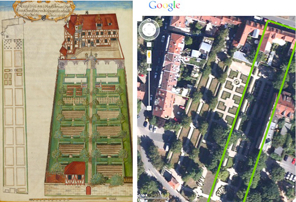 The Nuremberg Residence and Garden of Magdalene Pairin / Georg Strauch with comparison of site today via Google Maps
