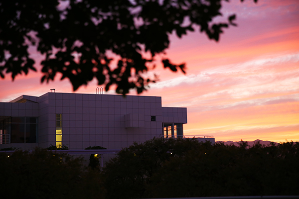 Colorful sunset over the Getty Center, Los Angeles / August 5, 2013