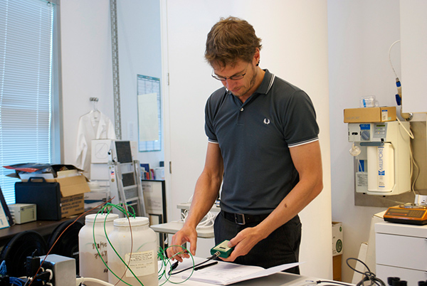 Thomas  Bernecker in the environmental monitoring laboratory of the Getty Conservation Institute.