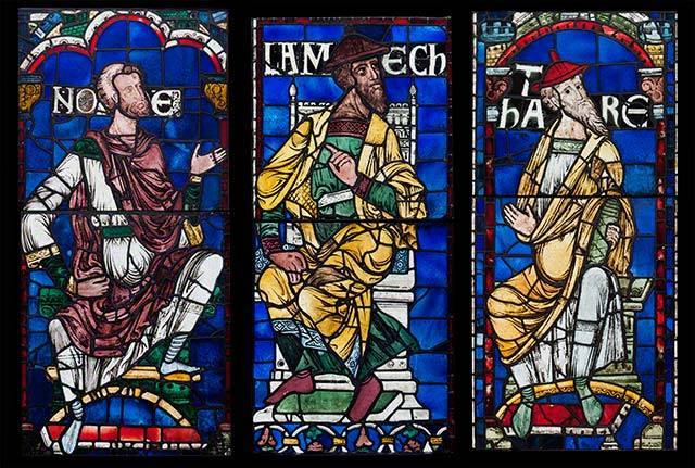 Stained glass from Canterbury Catherdral. Attributed to the Methuselah Master (English, active late 1170s). Colored glass and vitreous paint; lead came. © Robert Greshoff Photography, Courtesy Dean and Chapter of Canterbury.