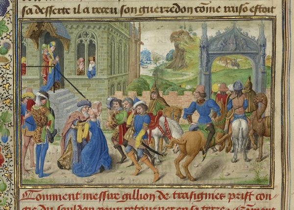 Gracienne Takes Leave of Her Father the Sultan (detail) in Roman de Gillion de Trazegnies