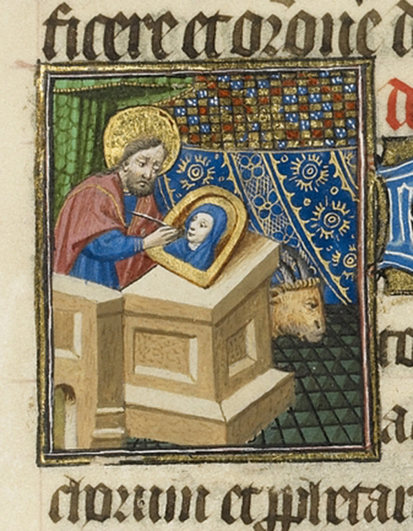 Saint Luke Painting an Image of the Virgin (detail) in a Book of Hours