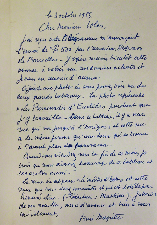 Letter from Rene Magritte to Alexander Iolas, October 3, 1955