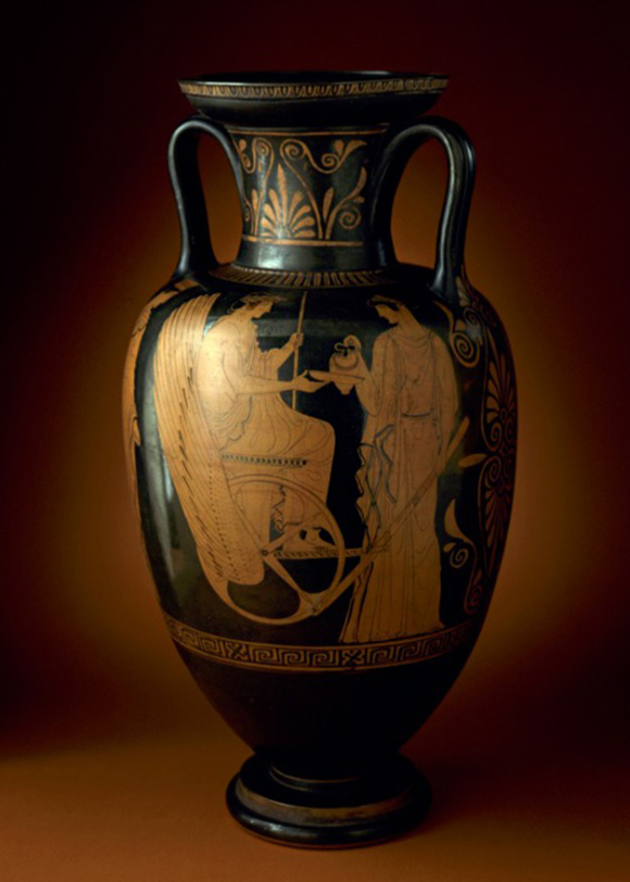 Red-Figure Neck-Amphora with Triptolemos Attended by Demeter and Persephone