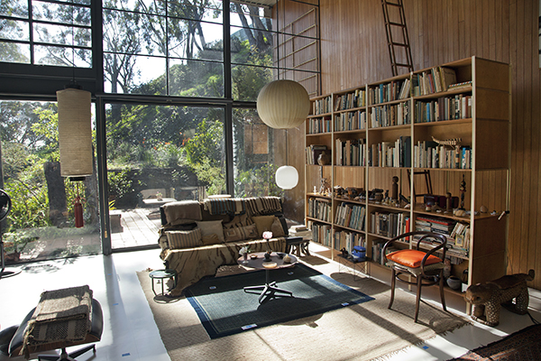 The living room in the Eames House after conservation and reinstallation of the collection