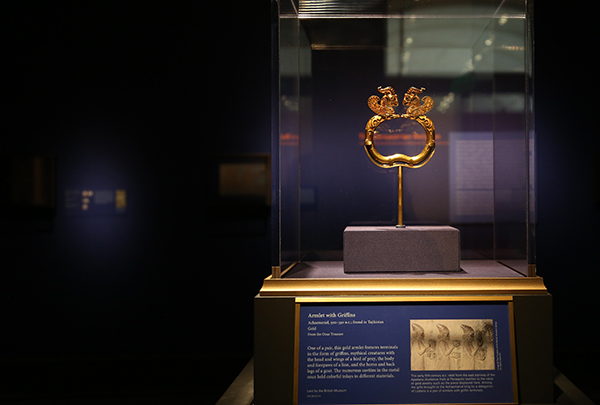 Gold armlet with griffins as installed at the Getty Villa / Achaemenid