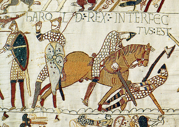 Detail of the Bayeux Tapestry showing the slaying of Harold II