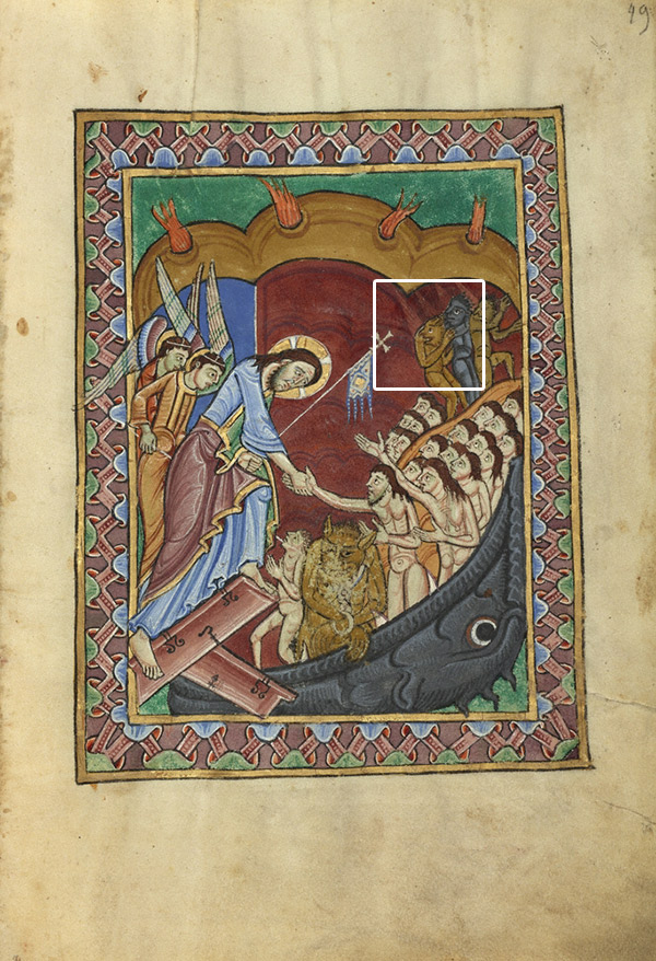 Diagram of the Harrowing of Hell in the St. Albans Psalter showing instances of iconoclasm