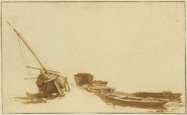Boats on Shore and in Water / Jan de Bisschop