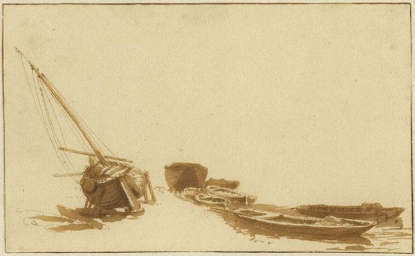 Boats on Shore and in Water / Jan de Bisschop