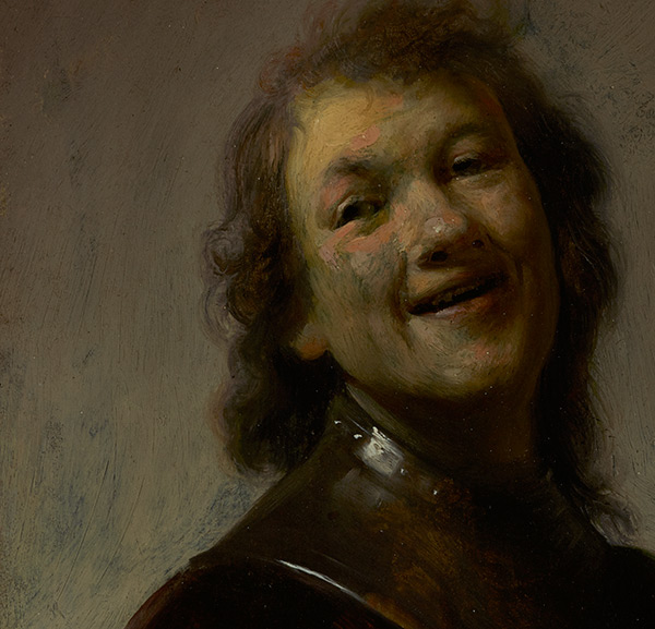 Close-up of face in Rembrandt Laughing / Rembrandt Harmensz. van Rijn